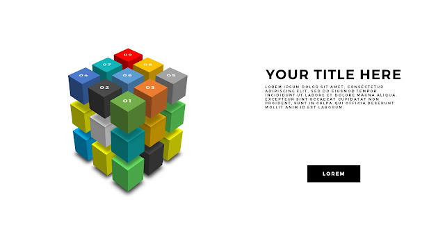 Useful 3D Cube Design Elements for PowerPoint Template Main Title