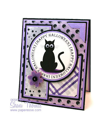Free digital stamp black cat Halloween card, by Paperesse.