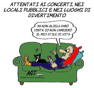 terrorismo, cultura occidentale, stile di vita, divano, umorismo, vignetta, satira