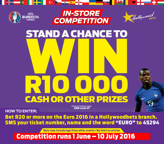 Hollywoodbets is offering you the chance of winning some amazing prizes with our retail Euro 2016 promotion!