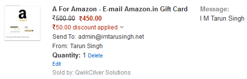 Get Rs.50 Off on Amazon Gift Cards Worth Rs.500