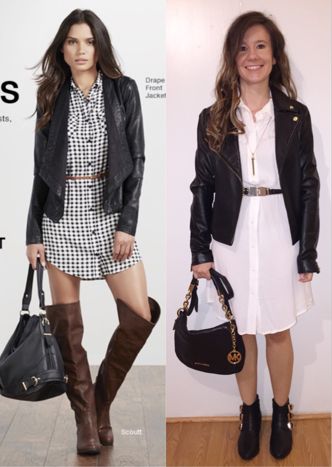 H&M White Shirt Dress Victoria's Secret Black Leather Jacket Stella & Dot Rebel Pendant Necklace