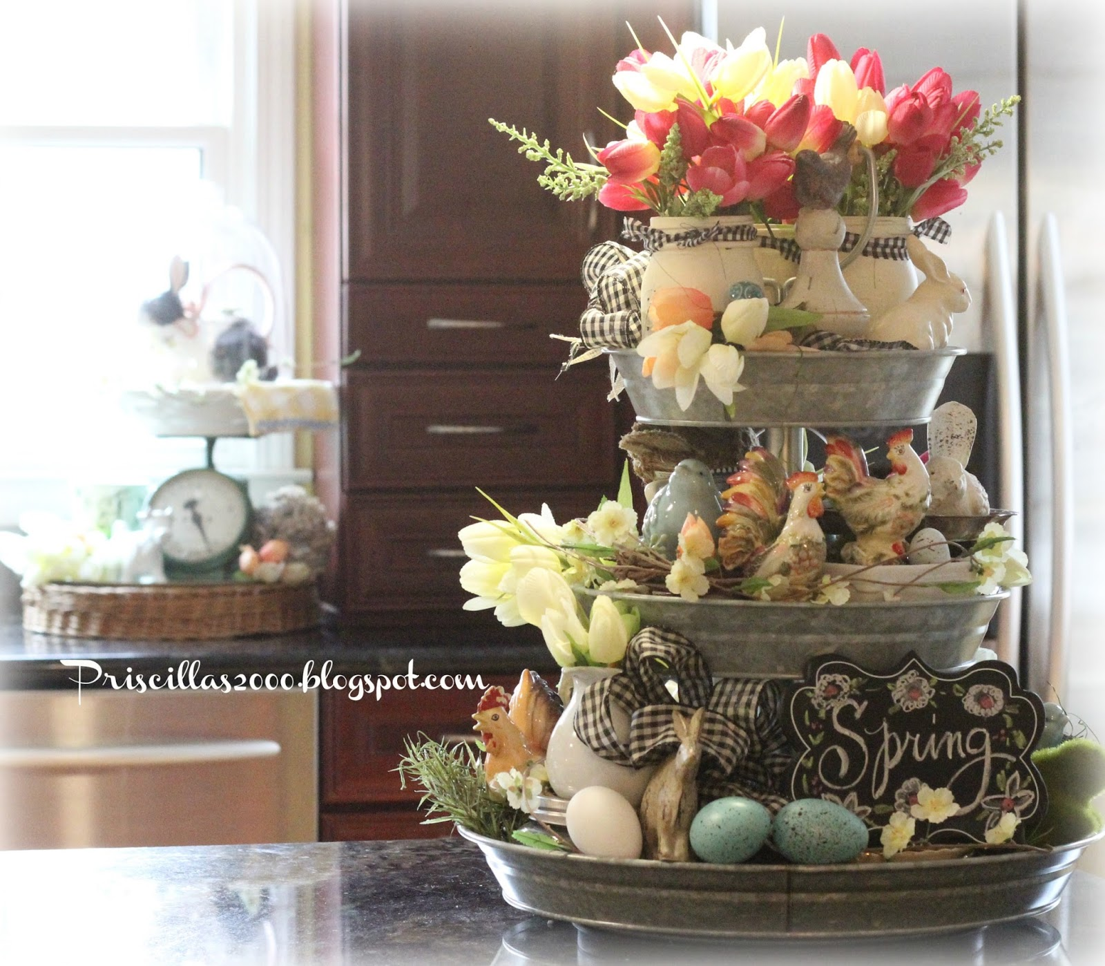 18 Spring Decor Ideas: Priscillas: Spring In The Galvanized Tiered Tray