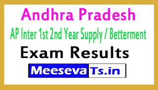 Andhra Pradesh AP Inter 1st 2nd Year Supply / Betterment Exam Results 2017