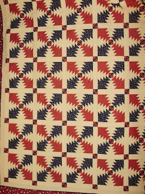 Red, White and Blue Quilt, Pineapple Log Cabin