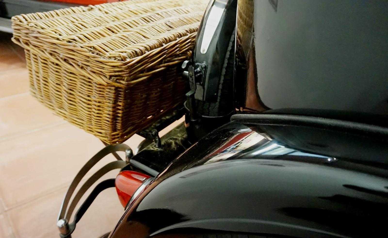 classic black car nostalgic wicker basket picnic haynes motor museum
