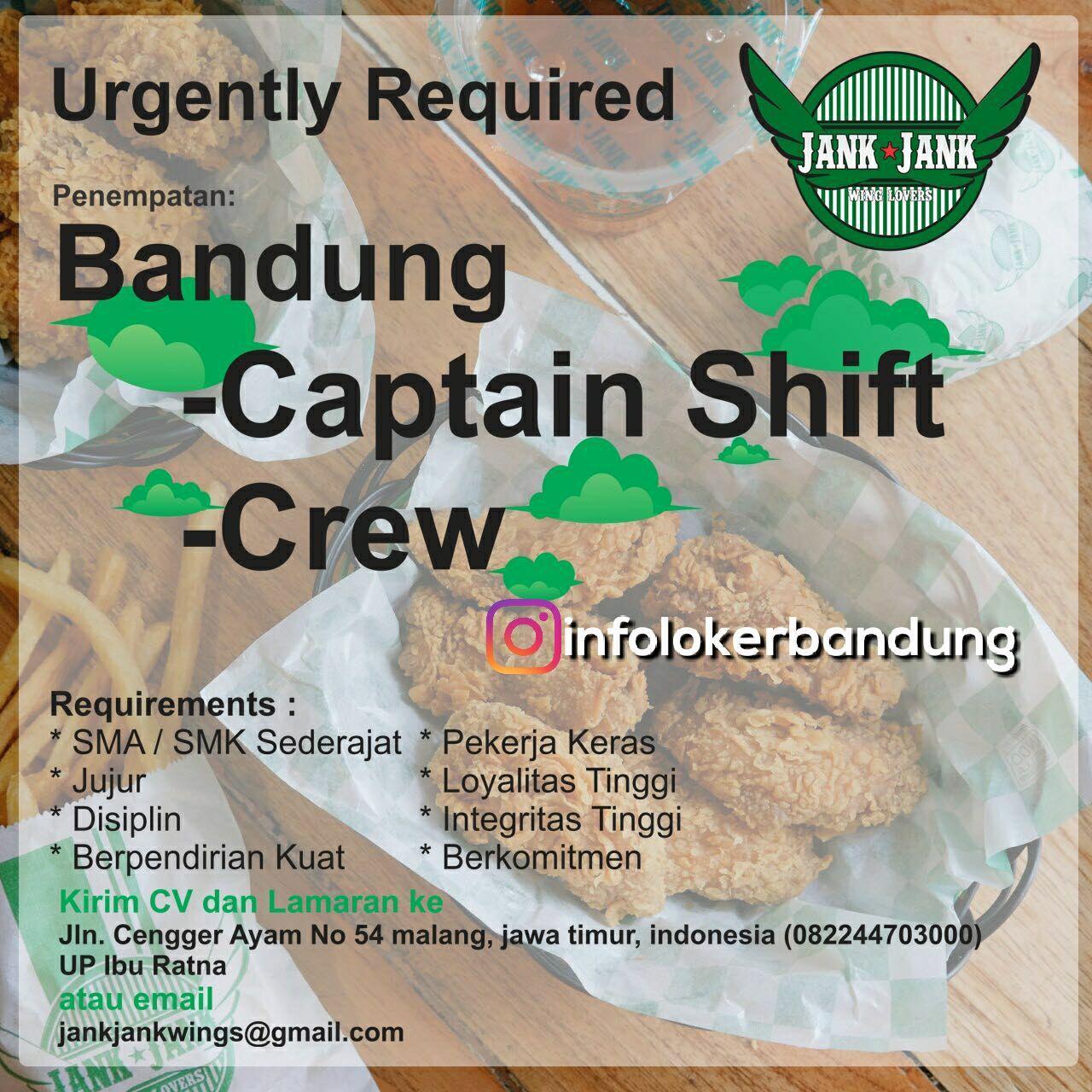 Lowongan Kerja Jank Jank Wings Resto Bandung Desember 2017