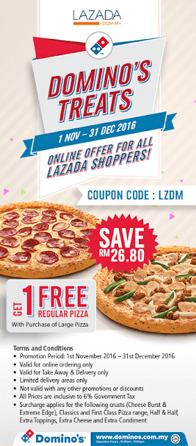 Domino's Pizza Coupon Code Free Regular Pizza with Purchase of Large Pizza