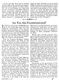 majalah saksi yehuwa awake 8/1/1947 tentang ekskomunikasi