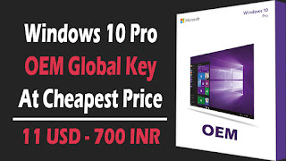 Windows 10 Pro OEM Global Activation Key At Cheapest Price