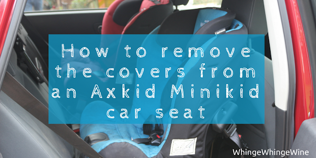 A pictorial how-to showing you how to get off, change, remove the car seat covers from an Axkid Minikid carseat for cleaning and washing