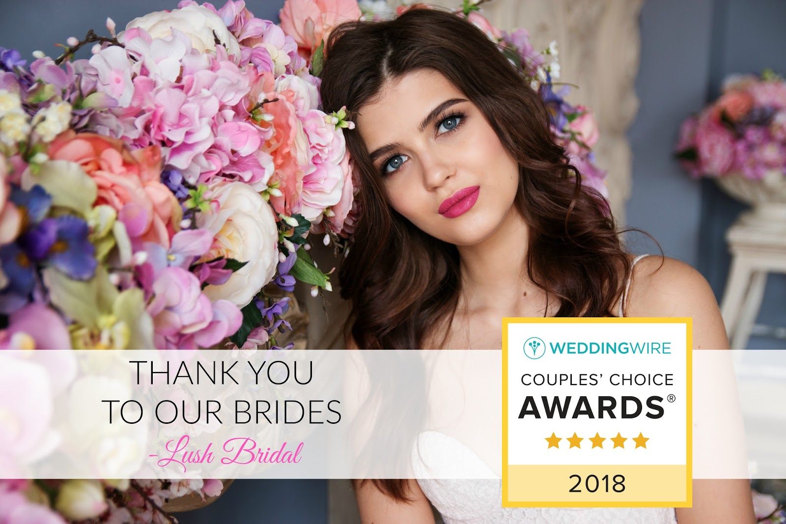 Lush Bridal has won the 2018 Couples' Choice Awards presented by Wedding Wire! We are being recognized as the top 5% of bridal makeup and hair teams ...