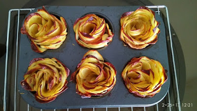 Potato roses out of the oven