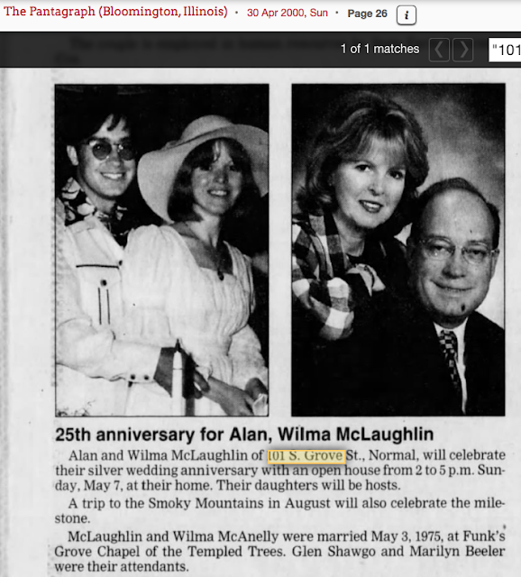 2000 owners of 101 s gore normal illinois celebrate 25th wedding anniversary alan and wilma mclaughlin