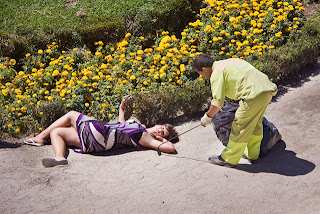 woman lying of dirt yolanda dominguez poses