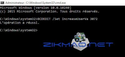 Windows 10 Commande Set IncreaseUserVa 3072