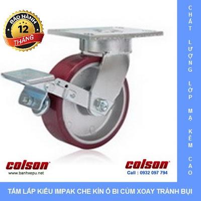 Bánh xe PU xoay khóa chịu lực 680kg càng Impak Colson | 6-8279-939BRK1 banhxedaycolson.com