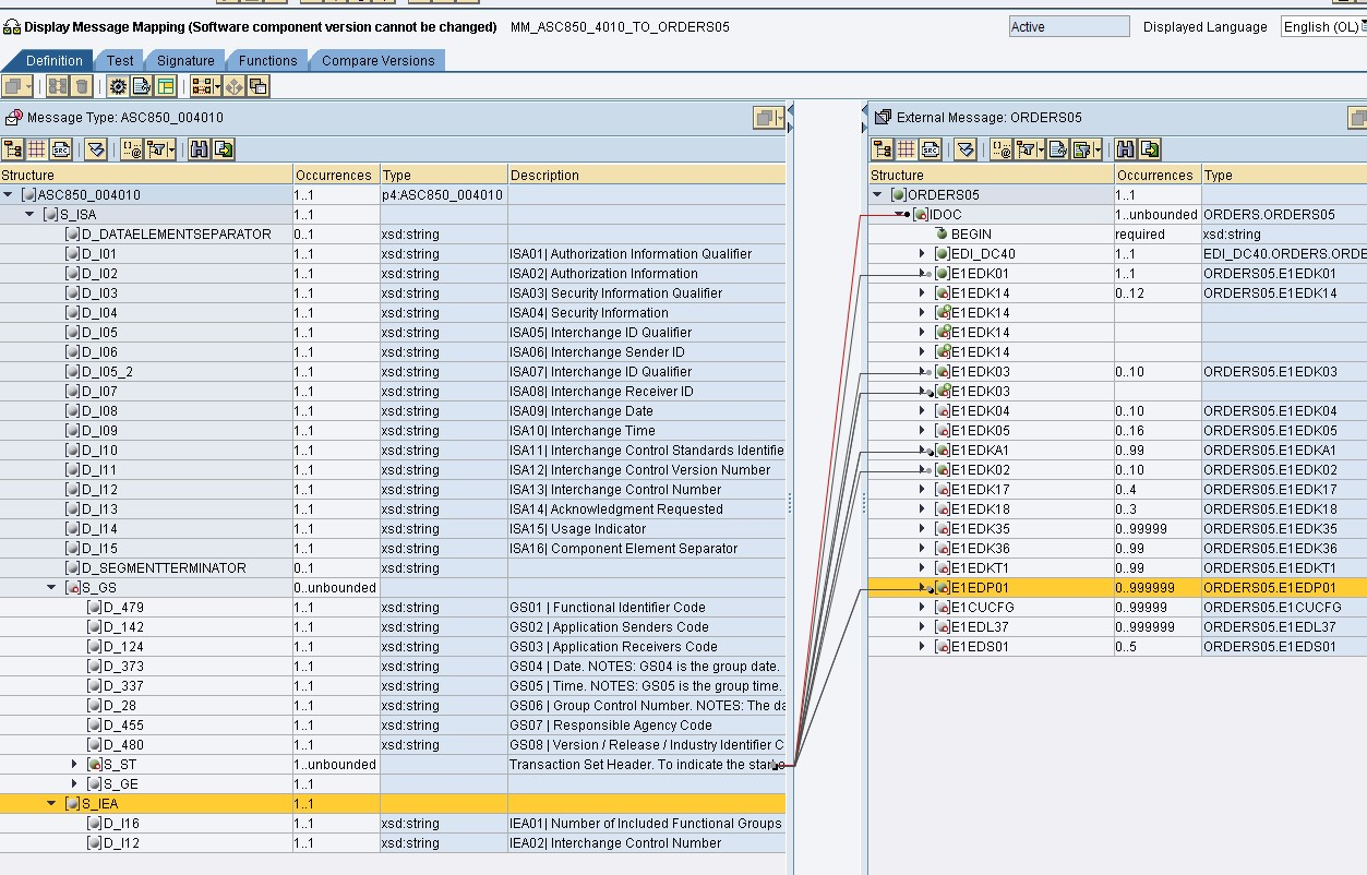 SAP PI Reference: EDI Orders 850 to IDOC orders05 Message mapping