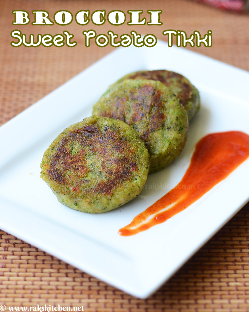 Broccoli sweet potato tikki