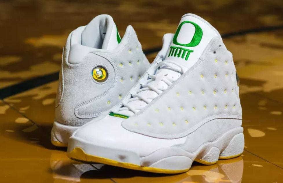Here is a detailed look at the Oregon Ducks Air Jordan 13  Matt Knight  PE  Retro Sneaker By Tinker Hetfield e2507a3db