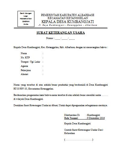 Contoh Surat Keterangan Usaha Dari Kelurahan Solution Ngnet