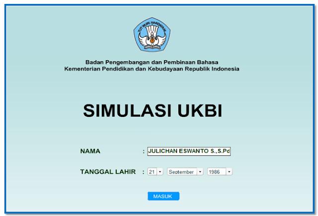 Aplikasi simulasi tes kemampuan bahasa Indonesia UKBI