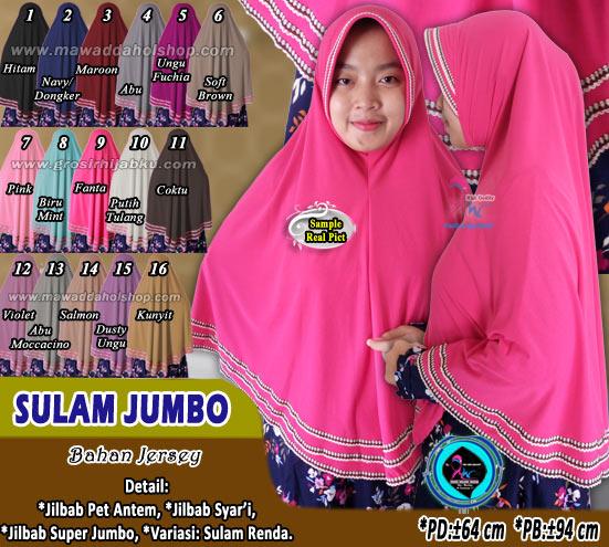 Jilbab Syar I Ukuran Jumbo Bahan Jersey Variasi Sula Renda