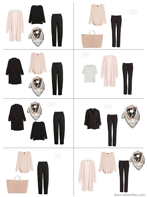 8 outfits in black and white with blush accents
