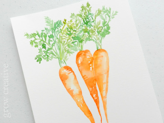 watercolor carrots painting by Elise Engh