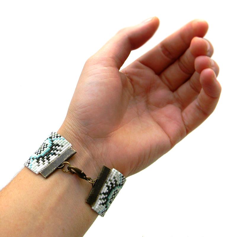 loom beadwork beadweaving pattern bracelet beaded cuff