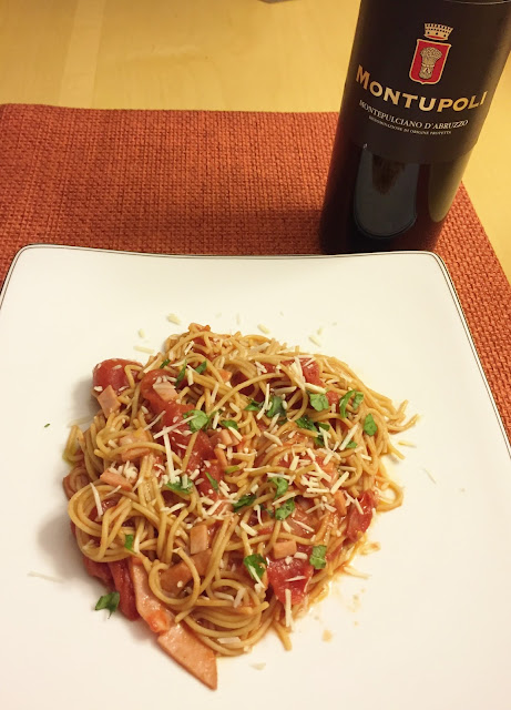 Montepoli Montepulciano d'Abruzzo with Spaghetti all'Amatriciana