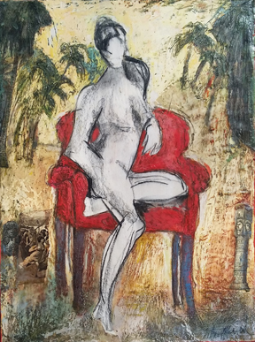 Amazon Lady in Red Chair by Marcie-Wolf-Hubbard