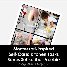 Montessori-inspired Self-Care: Kitchen Tasks Bonus Subscriber Freebie