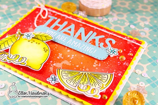 Thank you Lemon Card by Ellen Haxelmans | Lemon Twist Stamp Set, Frames & Flags Die Set, Essential Alphabet Die Set, Floral Roundabout Stamp Set and Banner Trio Die Set by Newton's Nook Designs #newtonsnook #handmade
