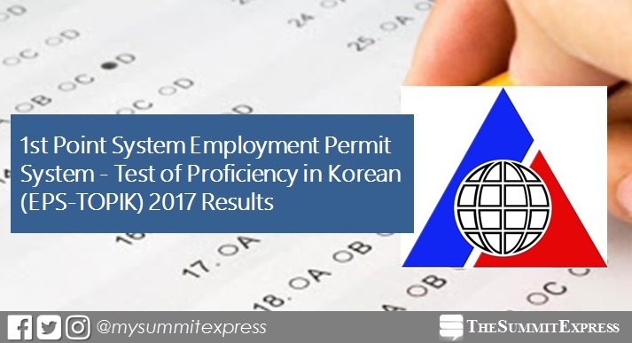 1st Point System EPS-TOPIK Korean Exam Results 2017