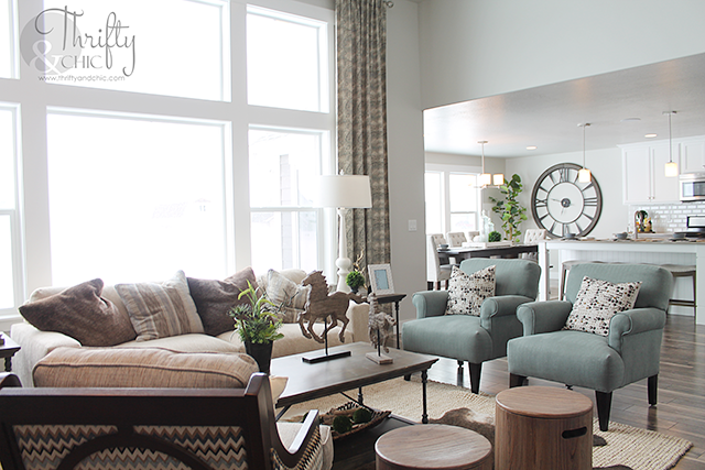 Great room and living room decorating idea and model home tour