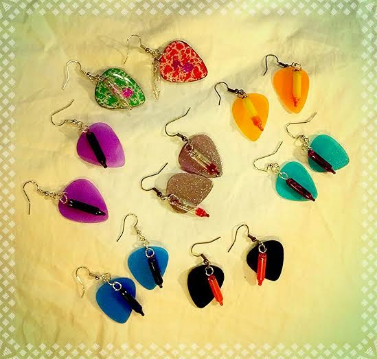 Unseasonal Holiday Lights Guitar Pick Earrings