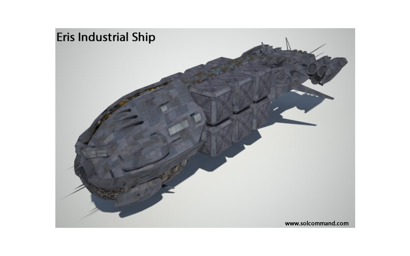 Eris industrial ship free download 3d model cargo spaceship space hauler transport crates  containers smuggler pirate guerilla lawless