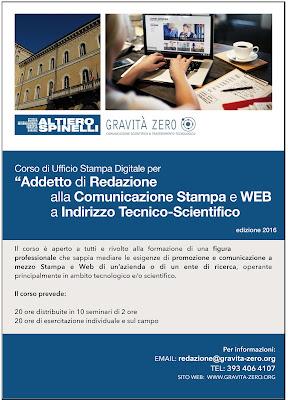 Addetto alla Comunicazione Stampa e web a Indirizzo Tecnico-Scientico