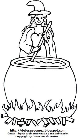 Dibujo de una bruja joven preparando un brebaje para colorear pintar imprimir. Imagen de bruja de Jesus Gómez