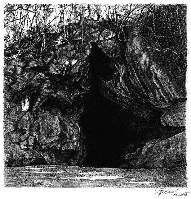 art by Birgitte Tümmler in ballpoint pen / biro - Jesuitas Cave - Parana