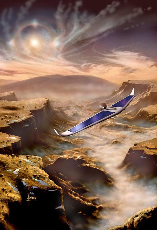Mars glider by David A. Hardy