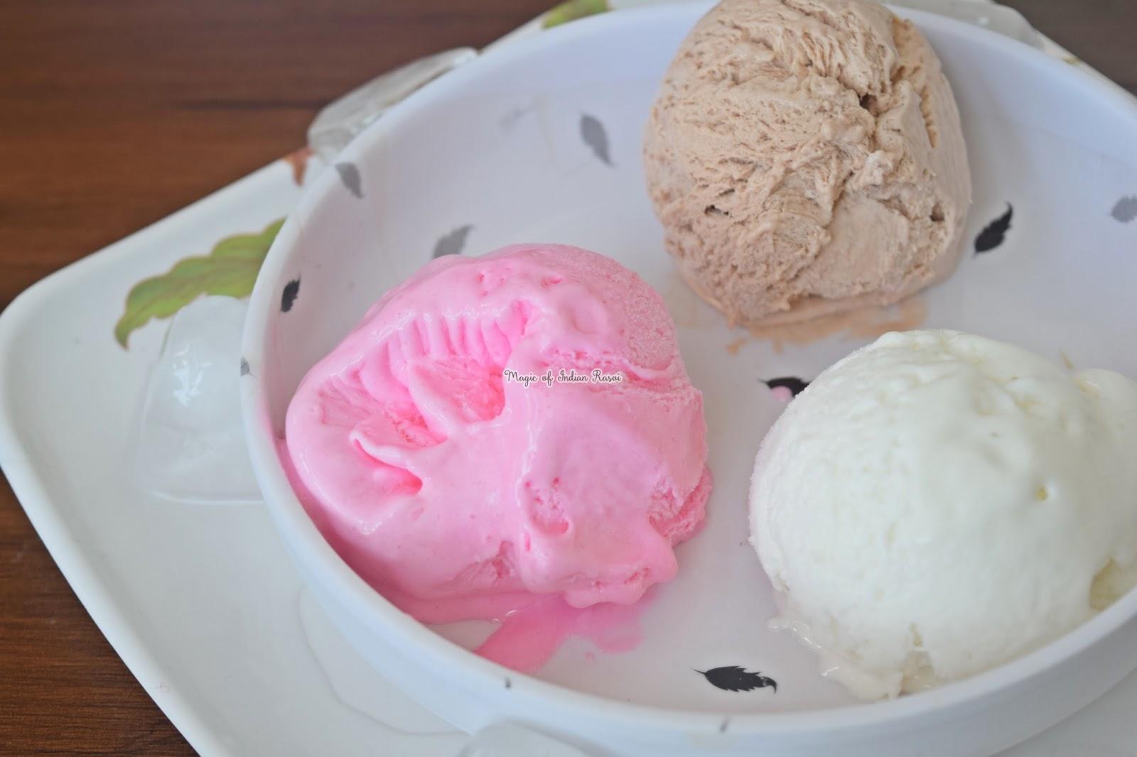Best Strawberry Ice Cream Recipe - Creamy & Soft Homemade Ice Cream - बेस्ट स्ट्राबेरी आइस क्रीम रेसिपी - क्रीमी और सॉफ्ट होममेड आइस क्रीम - Priya R - Magic of Indian Rasoi