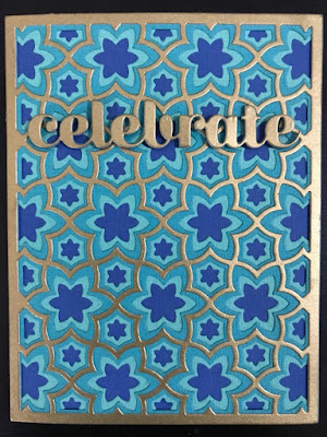 Hand made birthday card in turquoise and gold using Birch Press Sevilla die set.