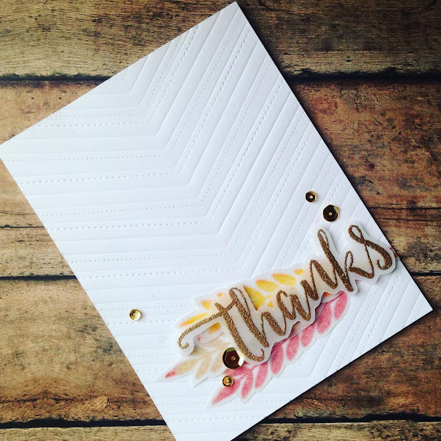 Sunny Studio Stamps: Fishtail Banner & Fishtail Banner II Thank You Card by Amanda