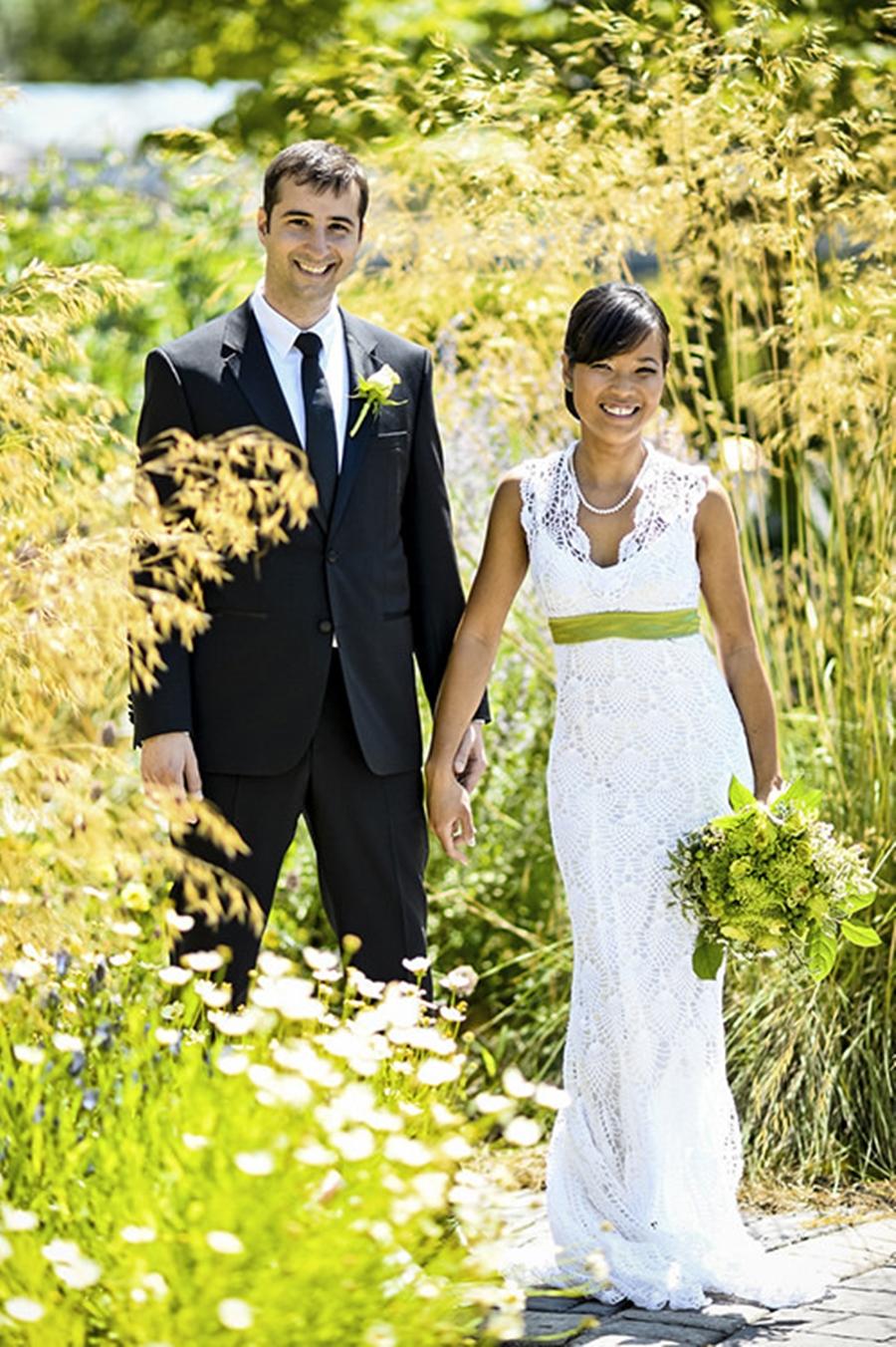 Vestido de casamento de crochê