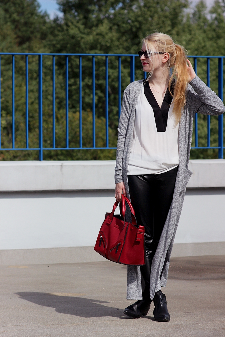 Mango cardigan, shirt Calzedonia trousers Parfois red bag Venezia boots