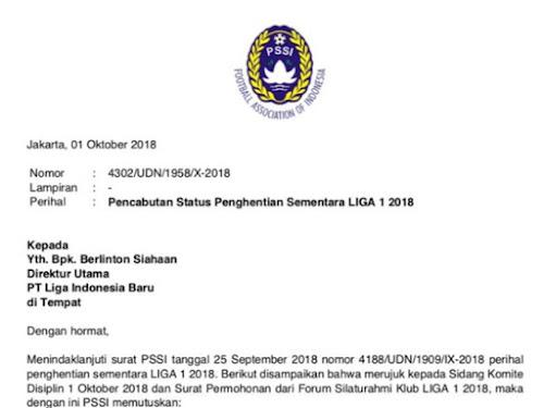 Jadwal baru Liga 1 Indonesia