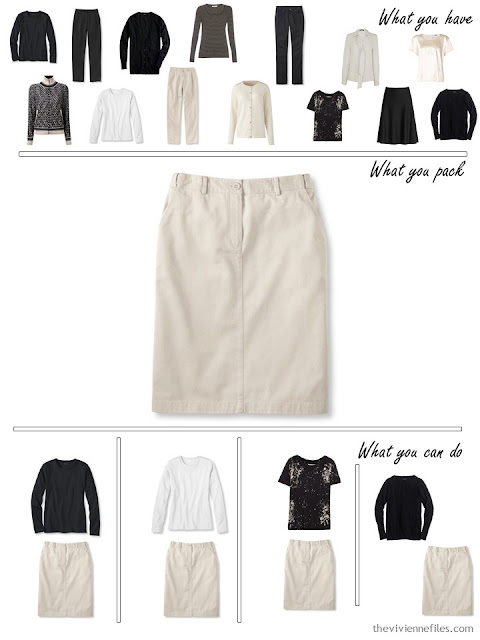adding a beige skirt to a black, white and beige travel capsule wardrobe