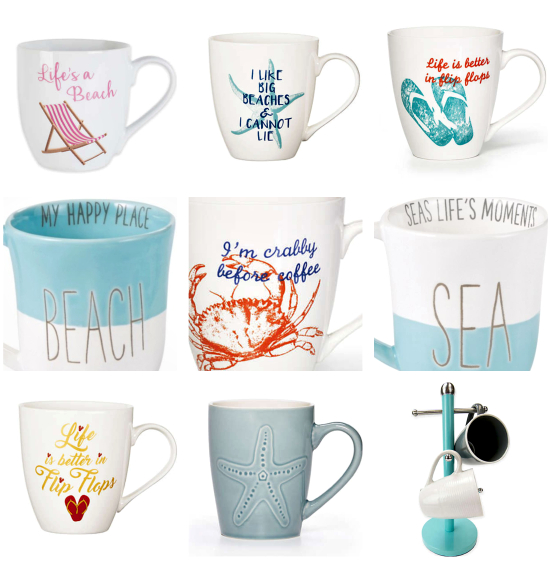 Beach Quote Mugs and Tree Stand